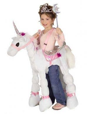 White Unicorn Girl's Magical Animal Costume Front View