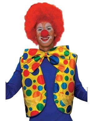 Men's Yellow Spotted Clown Costume Vest