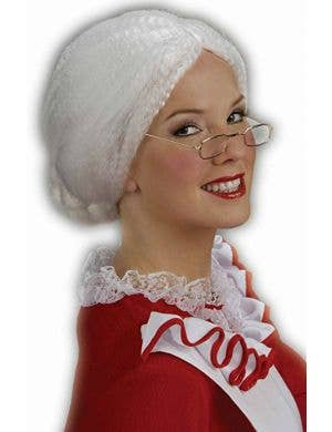 Women's White Mrs Santa Claus Costume Wig