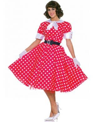 Retro Red Polka Dot Women's 50's Fancy Dress Costume Front
