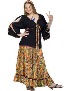 Women's Plus Size Hippie Fancy Dress Costume Main Image