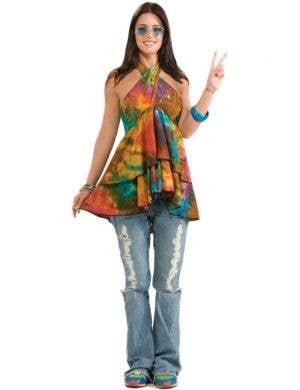 Women's Tie Die Hippie Costume Top Main Image