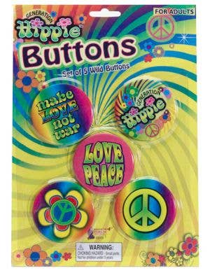 Generation Hippie Groovy Peace Badges
