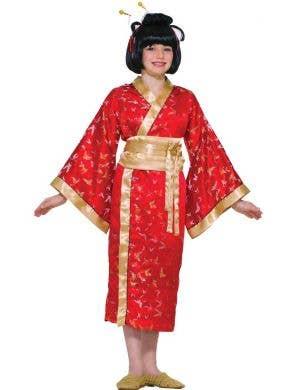 Girl's Japanese Red Geisha Kimono Costume Front