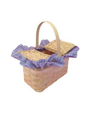 Dorothy Blue Gingham Wicker Basket Costume Accessory
