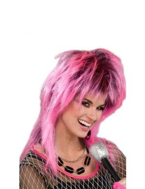 Electric Pink Rock Women's Mullet Wig