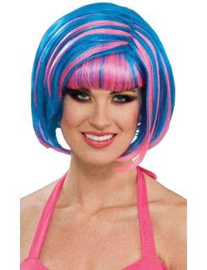 Candy Swirl Blue and Pink 80s Women's Wig