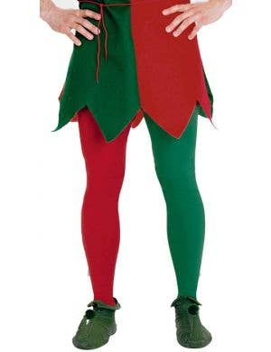 Red and Green Plus Size Christmas Elf Tights