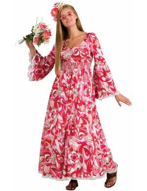 Women's Long Pink Hippie Dress Main Image