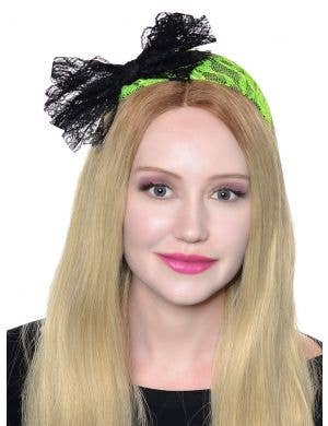 80's Neon Lace Headband with Bow - Green
