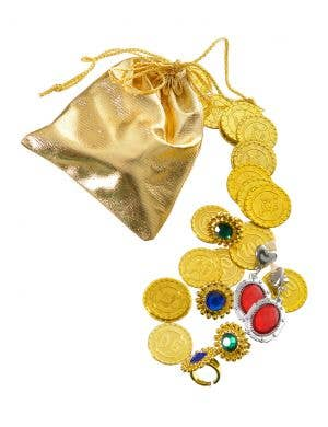Jewels and Coins Gold Pouch Costume Accessory