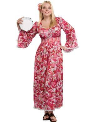 Women's Long Pink Hippy Costume Dress Main Image