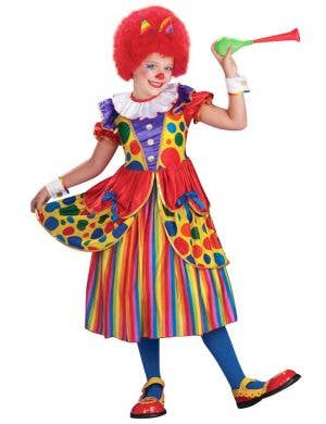 Rainbow Girl's Circus Clown Deluxe Fancy Dress Costume Front