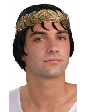Roman Ancient Roman Caesar Black Costume Wig And Laurel Wreath Costume Accessory Kit
