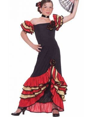 Spanish Girl's Flamenco Dancer Costume Front View
