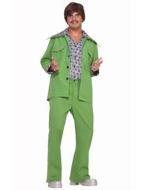 Men's Green 70's Retro Leisure Suit Costume Main Image