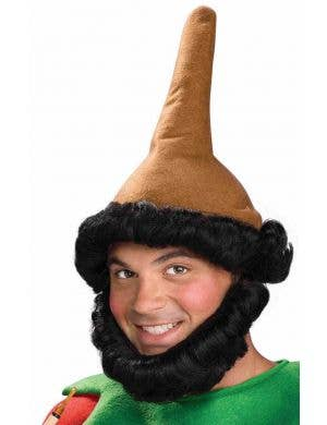 Brown Christmas Elf Hat with Attached Black Beard