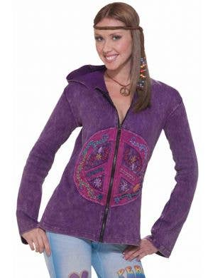 Peace Sign Women's Purple Zip-Up Costume Hoodie