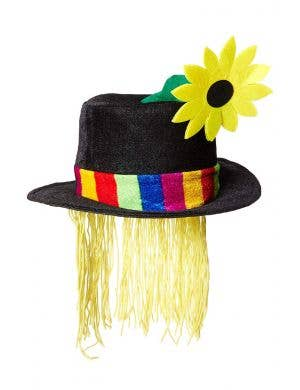 Clown Velvet Top Hat with Hair Sunflower Accessory