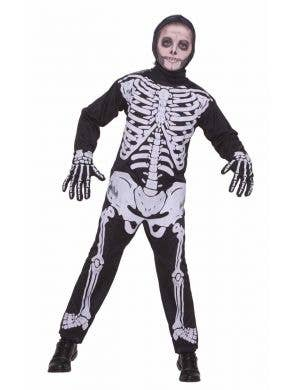 Boy's Skeleton Halloween Onesie Costume Front View