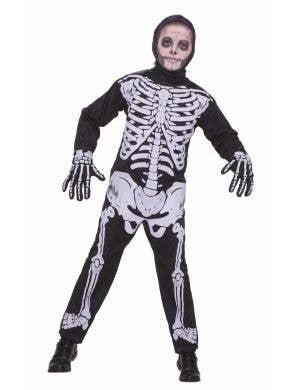 Boy's Skeleton Halloween Onesie Costume Front View