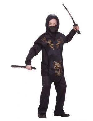 Boy's Black Ninja Costume Dress Up Front View