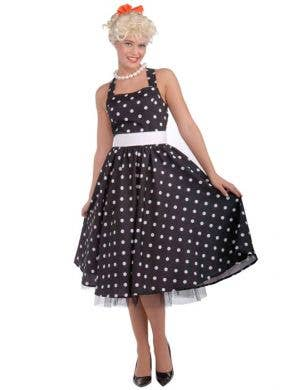 Women's Black Polka Dot Retro 50's Costume Front View