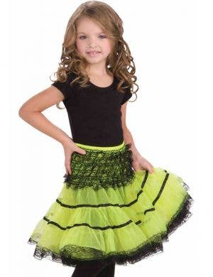 Green and Black Ruffled Girl's Costume Petticoat Front