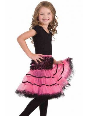 Girl's Pink and Black Fancy Dress Costume Petticoat Front