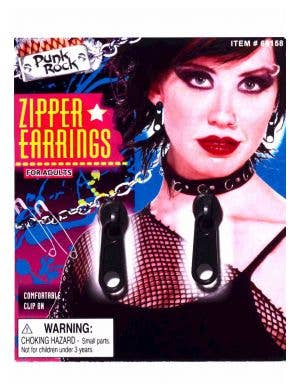 80's Clip On Black Zipper Costume Earrings