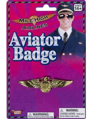 Aviator Gold Flight Captain Costume Badge