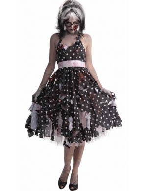 50's Polka Dot Women's Retro Zombie Costume Front View