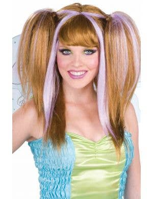 Fantasy Fairy Brown and Lilac Women's Costume Wig