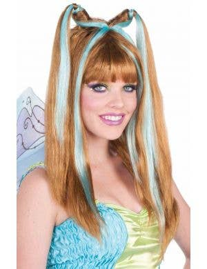 Fantasy Fairy Brown and Aqua Women's Wig