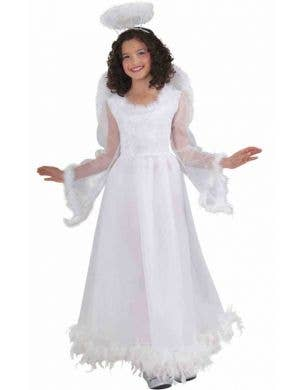 Girl's White Angel Fancy Dress Costume Front View
