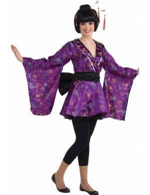 Girl's Purple Geisha Japanese Kimono Costume Front