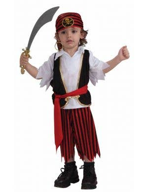 Little Toddler Boy's Pirate Fancy Dress Costume Front View