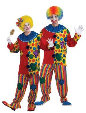 Unisex Adults Colourful Circus Clown Costume Front