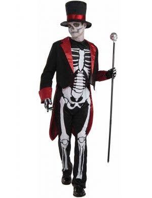 Teen Boy's Day of the Dead Skeleton Costume Front View