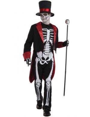 Boy's Black Skeleton Day of the Dead Costume Front View