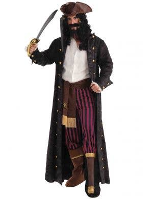 Full Length Deluxe Men's Black Pirate Captain Costume Coat