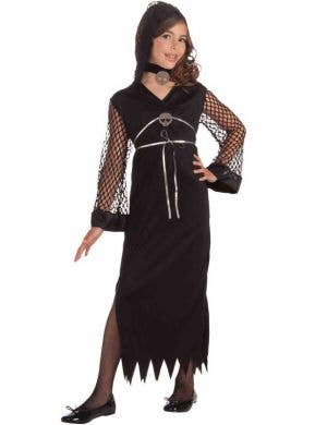 Girl's Evil Sorceress Black Fancy Dress Costume Front View