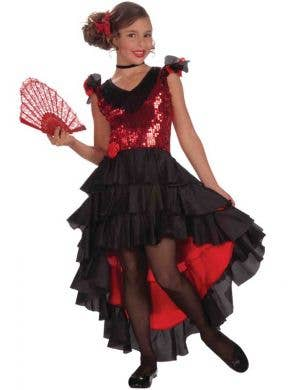 Girls Spanish Flamenco Black and Red Fancy Dress Front