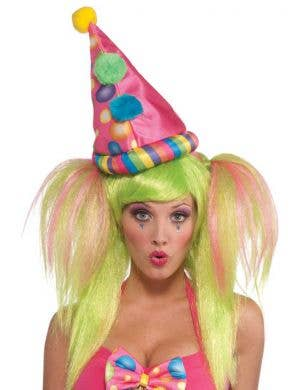 Womenu0027s Circus Sweetie Rainbow Clown Costume Hat  sc 1 st  Heaven Costumes : clown fancy dress costume  - Germanpascual.Com