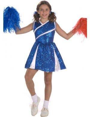 Girl's Blue Cheerleader High School Sports Costume Front