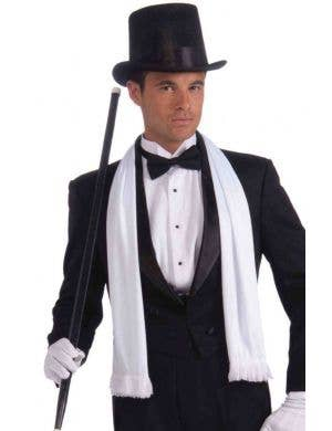 Men's Hollywood Gatsby White Satin Tassled Scarf