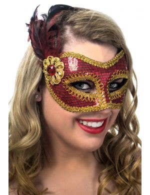 Red and Gold Sequined Feather Masquerade Mask View 1