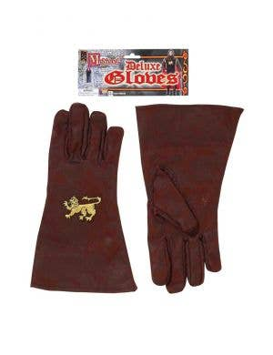 Deluxe Medieval Men's Knight Gloves Costume Accessories