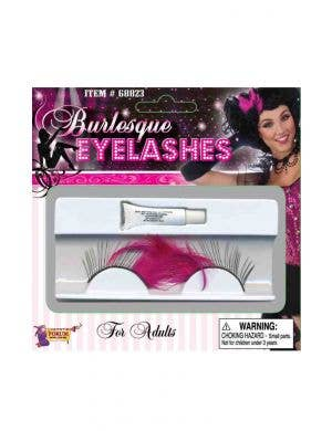 Burlesque Pink Feather and Black Eyelashes Costume Accessory