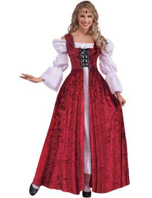 Medieval Maiden Red Lace Up Overgown